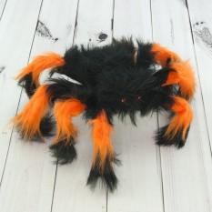 Паук из меха 30см (черный с оранжевым)