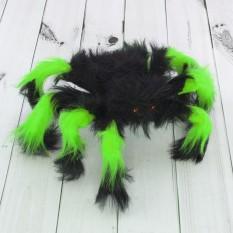 Паук из меха 30см (черный с зеленым)