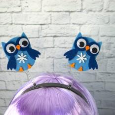 Антенки на ободке Сова (голубые)