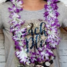 Гавайские леи Гибискус (белый с сиреневым)