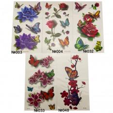 Переводная тату 19х10см Бабочки с цветами