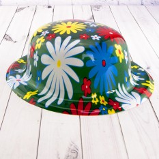 Шляпа Котелок пластик с принтом Ромашки