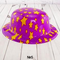 Шляпа Котелок пластик с принтом Звездочки