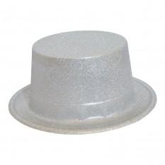 Шляпа Цилиндр блестящая (серебро)