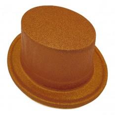Шляпа детская Цилиндр блестящая (бронза)