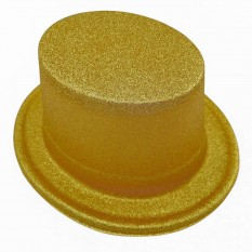 Шляпа детская Цилиндр блестящая (золото)