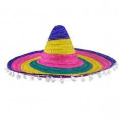 Шляпа Сомбреро 55см цветная с кисточками