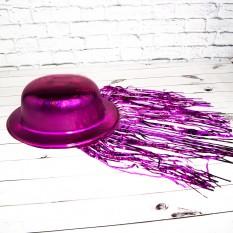 Шляпа Котелок Пластик с дождиком (малиновая)