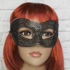Венецианская маска со стразами (черная)