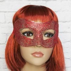 Венецианская маска со стразами (красная)