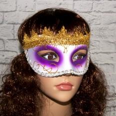 Венецианская маска Вероника (белая с фиолетовым)
