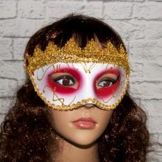 Венецианская маска Вероника (белая с красным)