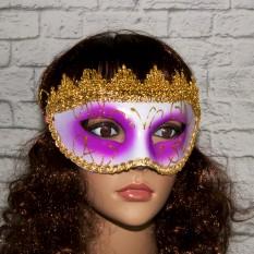 Венецианская маска Вероника (белая с сиреневым)