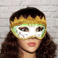 Венецианская маска Вероника (белая с зеленым)