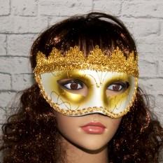 Венецианская маска Вероника (белая с золотом)