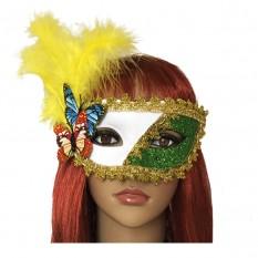 Венецианская маска Загадка белая с зеленым