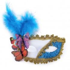 Венецианская маска Загадка белая с голубым