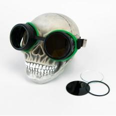 Очки Стимпанк Гогглы Авиаторы (черные с зеленым) XP303