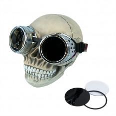 Очки Стимпанк Гогглы Премиум (серебряный металлик) A04