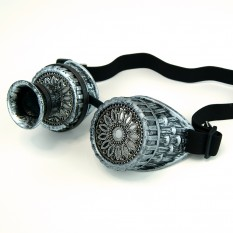 Очки Стимпанк Гогглы с моноокуляром (серебро антик) F-W403