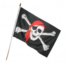 Пиратский Флаг 45х30см с деревянной ручкой