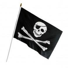 Пиратский Флаг 45х30см с пластиковой ручкой