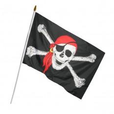 Пиратский Флаг 45х30см с пластиковой ручкой №2