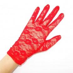 Перчатки гипюровые короткие (красные)