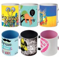 Чашки с надписями и прикольными рисунками