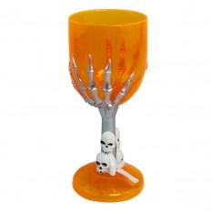 Бокал для шампанского Рука скелета (оранжевый)