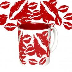 Чашка с принтом 64115 1000 поцелуев (красная)