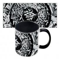 Чашка с принтом 65703 Каллиграфия #3 (черная)