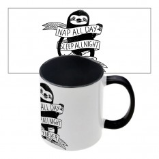 Чашка с принтом 63202 Nap all day (черная)