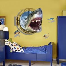 Интерьерная наклейка 3D Акула в иллюминаторе XH4275 60х90см