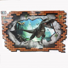 Интерьерная наклейка 3D Динозавр сквозь стену 3D69003 90х60см