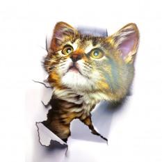 Интерьерная наклейка 3D Кот XH2001 25х16.5см