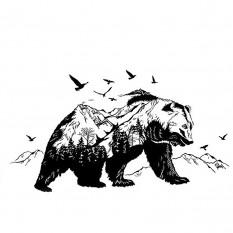 Интерьерная наклейка Черный Горный медведь XL8271 90х60см