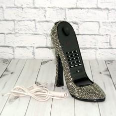 Телефон Туфелька со стразами серебро