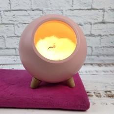 LED Ночник  Спящий кот в домике розовый 004917-1