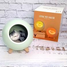 LED Ночник  Спящий кот в домике зеленый 004917-1