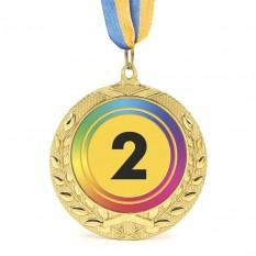 Медаль наградная 43515 Д7см 2 место Радуга