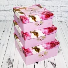 Коробка подарочная КП-333.2 (набор 3шт) розовая