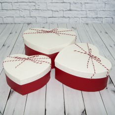 Коробка подарочная сердечко (набор 3шт) белая