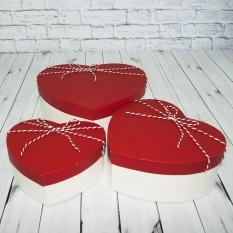 Коробка подарочная сердечко (набор 3шт) красная