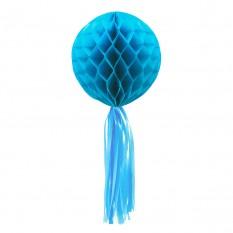 Бумажный шар соты с бахромой (30см) голубой