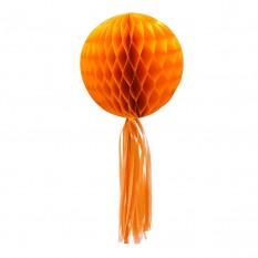 Бумажный шар соты с бахромой (30см) оранжевый