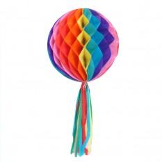 Бумажный шар соты с бахромой (30см) радуга
