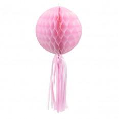 Бумажный шар соты с бахромой (30см) розовый