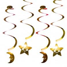 Декор спиральки Луна и Звезды (уп. 6шт) золото