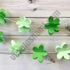 Гирлянда бумажная 3D Цветы (зеленый)